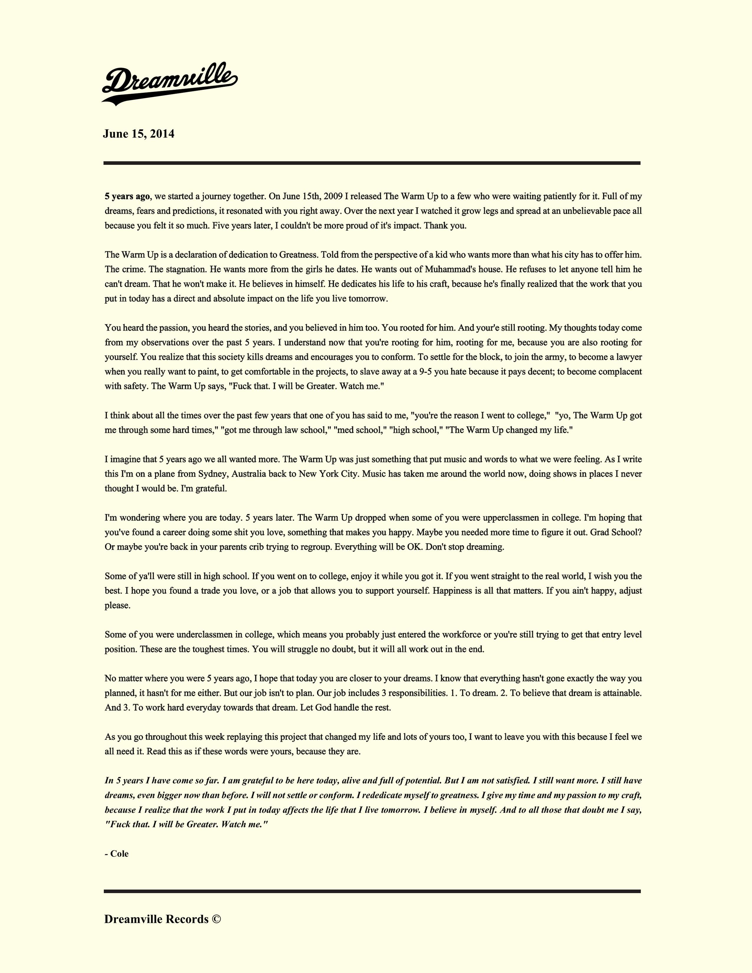 Dreamville Cole Letter